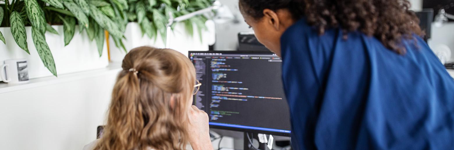 Kollegaer ser på PC og snakker sammen
