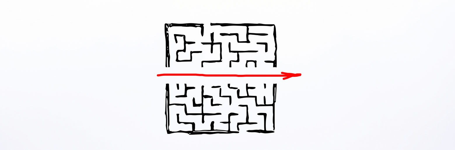 Labyrint tegnet på veggen