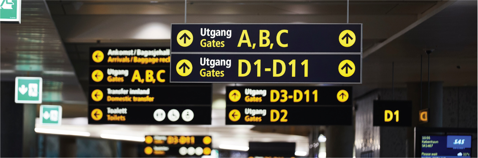 Skilt på flyplass