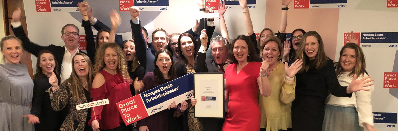 Glade ansatte - Sopra Steria er kåret til Norges beste arbeidsplass for tredje året på rad
