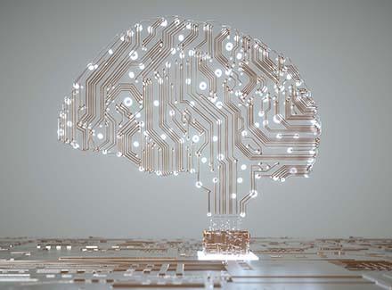 Illustrasjon for kunstig intelligens_hjerne med lysdioder