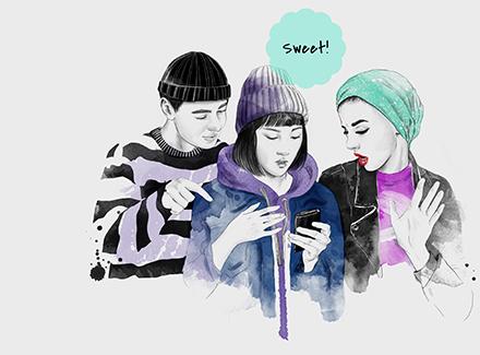 illustrasjon av tre ungdommer NORA-prosjektet