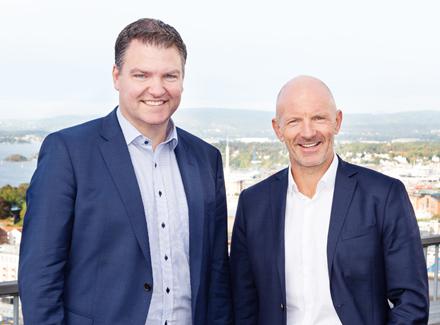 Odd Inge Bjørdal, direktør for Digital Platform Services i Sopra Steria, her avbildet med Trond Pedersen, salgsdirektør for infrastruktur og drift, i Sopra Steria. (Foto: Sopra Steria)