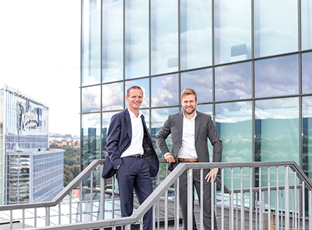 Mads Myrvoll og Erik Kyllingstad i Sopra Steria