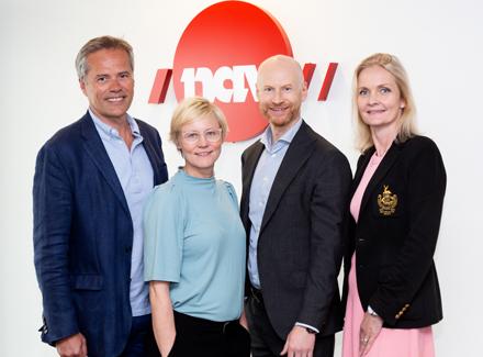 Ola Furu, avdelingsdirektør i NAV, Karin Bøhlerengen, prosjektleder i NAV, Lars Ødegaard, direktør for offentlig sektor i Sopra Steria, og Benedicte Bjorbæk, direktør for applikasjonstjenester i Sopra Steria.